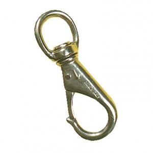 Mousqueton à émerillon bronze naval nickelé